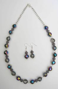 Grey and Mauve Sparkle Necklace & Earring Kit